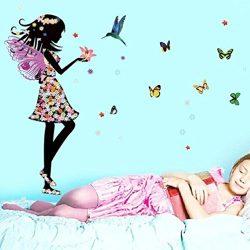 Wall Sticker, Hatop Angel Wings Beautiful Girl Flowers Butterfly DIY Wall Stickers Removable Hom ...