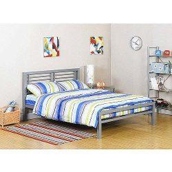 Bed Metal Frame for Kids Bedroom, Teenager and Dorm. (Color: Silver, Size: full (It is the bed u ...