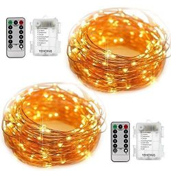 YIHONG 2 Set Fairy Lights Battery Operated Starry String Lights 50 LED 16.4FT 8 Modes Waterproof ...