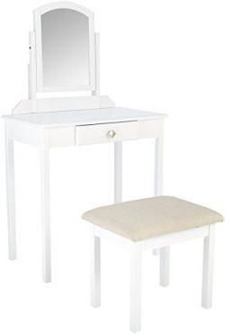 AmazonBasics Vanity Set with Stool, Small, White