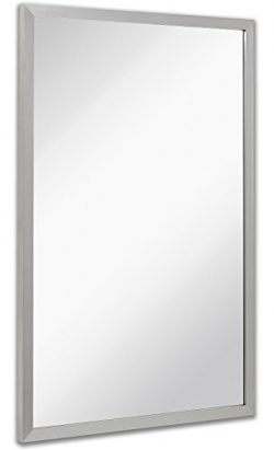 Commercial Restroom Rectangular Wall Mirror | Contemporary Industrial Strength | Brushed Metal S ...