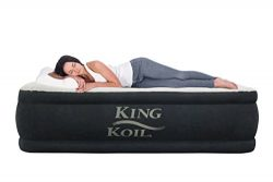 King Koil TWIN SIZE UPGRADED Luxury Raised Air Mattress – HIGHEST QUALITY Best Inflatable  ...