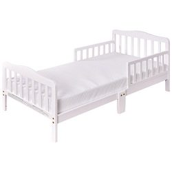 Costzon Wood Kids Bedframe Toddler Children Sleeping Bedroom Furniture w/Safety Rail Fence (White)