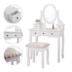 JAXPETY 5 Drawers Vanity Table Set with Mirror and Cushioned Stool Makeup Dressing Table Organiz ...