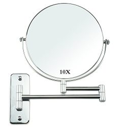 Omnihome 10X Magnifying Makeup Mirror, Two- Sided Swivel Wall Mounted Bathroom Mirror Vanity Dec ...