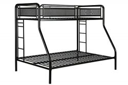 DHP Rockstar Metal Bunk Bed Frame, Sturdy Metal Design, Twin-Over-Full – Black