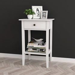 White Finish Nightstand Side End Table with Drawer and Shelf 28″H