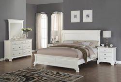 Roundhill Furniture Laveno 012 White Wood Bedroom Furniture Set, Includes King Bed, Dresser, Mir ...
