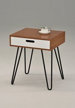 Dark Oak / White Side End Table Nighstand Metal Legs with One Drawer 24″H – Mid-Cent ...