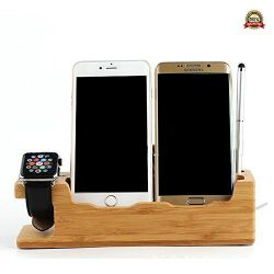 3 in 1 Bamboo Wood USB Charging Docking Station with Nightstand Mode, Desk Stand Charger Compati ...