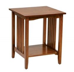 Traditional Side Table with Medium Oak Finish for Living Room, Bedroom, Porch, Covered Patio, De ...