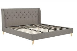 Novogratz Her Majesty Upholstered Linen Bed, Tufted Wingback Design and Wooden Legs, King Size & ...