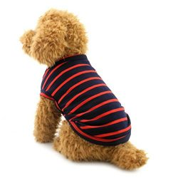 Pet Stripes Vest Summer T-Shirt Cotton Boys Male Doggy Clothes Small Dog Cat Puppy Apparel Chihu ...
