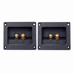 Kalevel 2pcs DIY Home Car Stereo 2-way Speaker Box Terminal Round Square Spring Cup Connector Bi ...