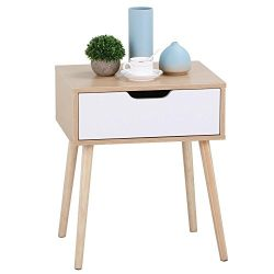 Yaheetech White/Brown Walnut Side End Table Nightstand with Storage Drawer Solid Wood Legs Livin ...