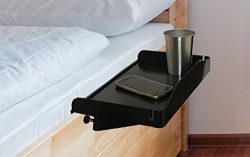 Modern Innovations 15 Inch Bedside Caddy Tray with Cup Holder & Cable Cord Insert for Multip ...