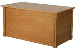 Large Oak Wooden Toy Box and Blanket Chest – All Wood – Optional Cedar Base (Cedar Base)