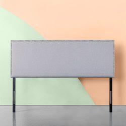 Zinus Upholstered Nailhead Rectangular Headboard in Light Grey, Full