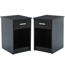 Mecor Nightstands End Table with Shelf Drawer Bedroom Furniture Set of 2 Black