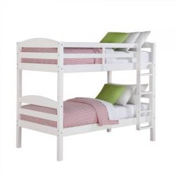Better Homes and Gardens Leighton Twin Over Twin Wood Bunk Bed, White (White)