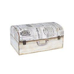 Household Essentials 9527-1 Vintage Wood Suitcase Storage Trunk, Large, White/Newspaper