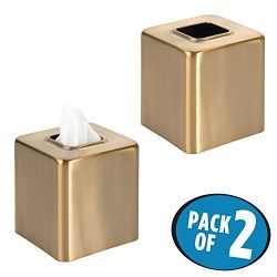 mDesign Square Facial Tissue Box Cover Holder for Bathroom Vanity Counter Tops, Bedroom Dressers ...