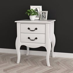 White Finish Curved Legs Nightstand Side Table with Two Drawers