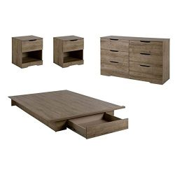 Home Square 4 Piece Bedroom Set with Dresser, Bed, and Set of 2 Nightstand in Weathered Oak