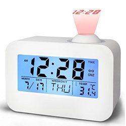 Alarm Clocks for Bedrooms, Bidason Cool Digital Snooze Projection Alarm Clock with 3.5″ LE ...
