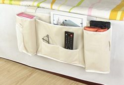 IDecHome Hanging Bed Organizer, Nylon Pockets Bedside Sofa Desk Chair Storage Caddy, Phone Book  ...