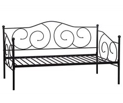 BestMassage Twin Size Daybed Frame Metal Sofa Bed Solid Support with Headboard Guest Dorm Home F ...