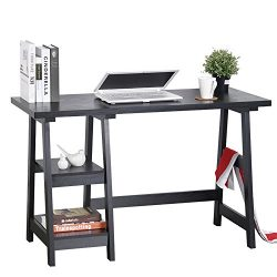 Computer Writing Desk Laptop Table Trestle PC Wood Home Office Desk Square Table Studying Readin ...
