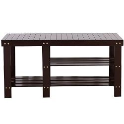 Bonnlo 100% Natural Bamboo Shoe Bench 2-Tier Shoe Rack Organizer Entryway Storage Shelf 35 2/5&# ...