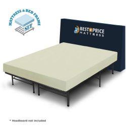 Best Price Mattress 6″ Comfort Memory Foam Mattress and Bed Frame Set, Queen