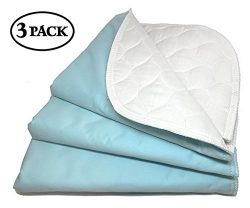 RMS Ultra Soft 4-Layer Washable and Reusable Incontinence Bed Underpads, 18″X24″ (3  ...