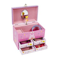 JewelKeeper Princess and a Castle Large Musical Jewelry Storage Box with 4 Pullout Drawers, Girl ...
