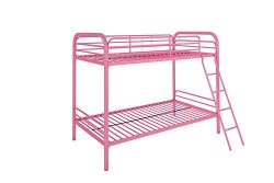 DHP Twin-Over-Twin Bunk Bed with Metal Frame and Ladder, Space-Saving Design, Pink