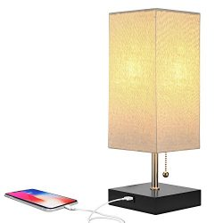 Brightech Grace LED USB Bedside Table & Desk Lamp – Modern Lamp with Soft, Ambient Light, Un ...