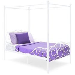 Best Choice Products 4 Post Metal Canopy Twin Bed Frame w/ Heart Scroll Design, Slats, Headboard ...