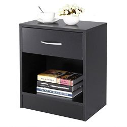 JAXPETY Home End Table/Core Nightstand Storage Shelf with One Drawer Two Layer Cabinet Black