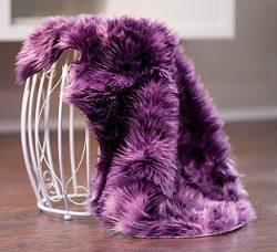 Chanasya Super Soft Faux Fur Fake Sheepskin Purple Sofa Couch Stool Casper Vanity Chair Cover Ru ...