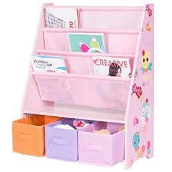 Costzon Kids Sling Bookshelf, Book Display Rack Storage Organizer with 3 Toy Storage Bins