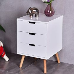 White Side End Table Nightstand w/ 3 Drawers Mid-Century Accent Wood Furniture