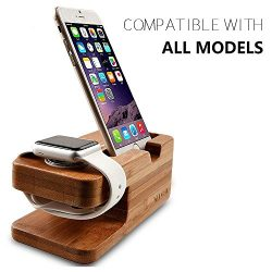 Wooden Apple Watch iPhone Bamboo Stand Charging Cradle Holder Nightstand Station 2 in 1 Dual Cha ...