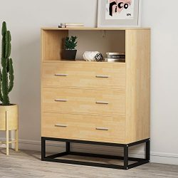 3-Drawer Dresser, LITTLE TREE Tall Chest with Open Storage, Works as File Cabinet & Collecti ...