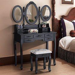 Mecor Dressing Table Makeup Desk with Stool& 7 Drawers Set ,Black