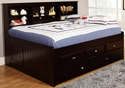 Discovery World Furniture Bookcase Daybed with 6 Drawers, Full, Espresso