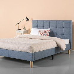 Zinus Upholstered Square Stitched Platform Bed in Light Blue, Full