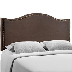 Modway Curl Upholstered Linen Headboard Queen Size With Nailhead Trim and Curved Shape In Dark Brown