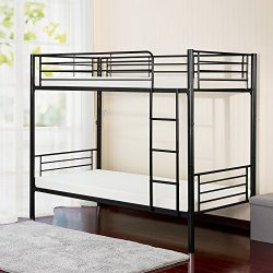 Merax Twin-Over-Twin Metal Bunk Bed in Silver Finish (Black.)